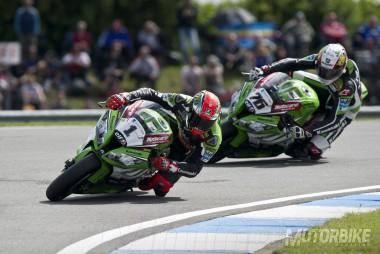 Tom Sykes Loris Baz Kawasaki WSBK Donington 2014 - Motorbike Magazine