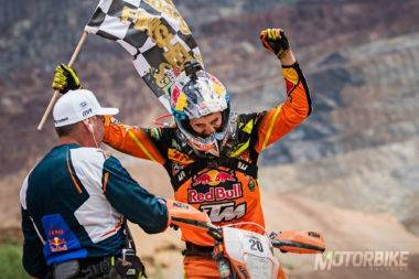 Alfredo Gomez celebrates first place at the Red Bull Hare Scramble 2017 in Eisenerz, Austria on June 18, 2017 // Samo Vidic/Red Bull Content Pool // P-20170618-00499 // Usage for editorial use only // Please go to www.redbullcontentpool.com for further information. //