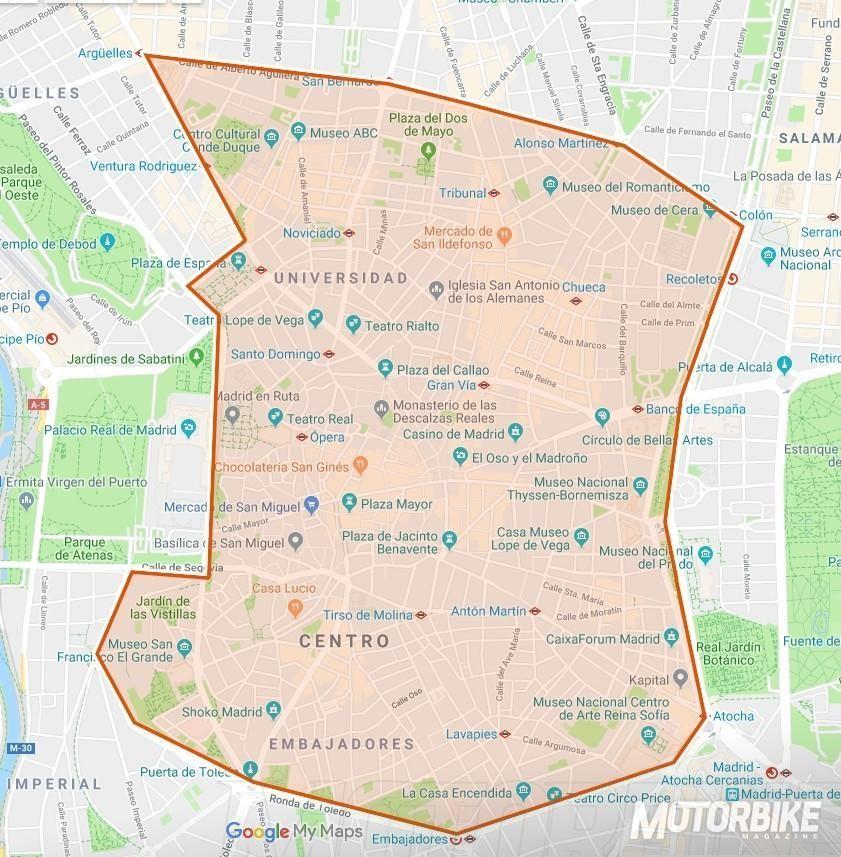 Restricciones Tráfico Madrid Mapa.Las Motos Y Las Nuevas Restricciones De Movilidad En Madrid
