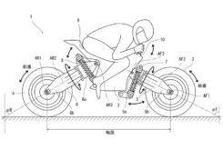 Patente Kawasaki moto sin manillar ruedas osccilantes
