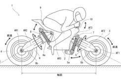 Patente Kawasaki moto sin manillar ruedas oscilantes