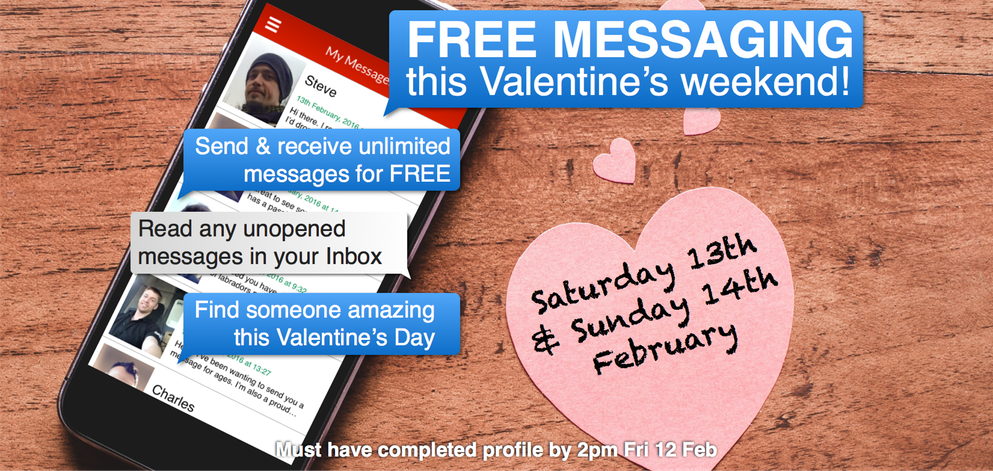 FREE MESSAGING this Valentine's weekend
