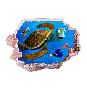 Vinil de Parede 3D Disney | Nemo e Crush