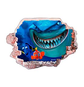 Vinil de Parede 3D Disney | Dóris e Nemo c/ Tubarão
