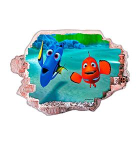 Vinil de Parede 3D Disney | Nemo e Dóris, Olá!