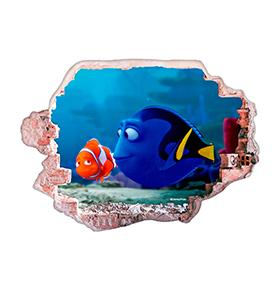 Vinil de Parede 3D Disney | Dóris e Nemo