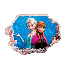 Vinil de Parede 3D Disney |  Frozen Elsa e  Ana