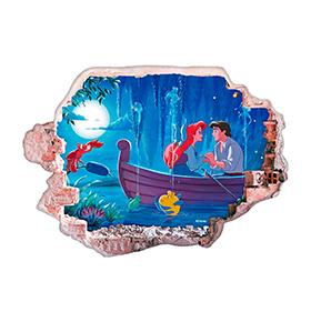 Vinil de Parede 3D Disney | Pequena Sereia, Felicidades!