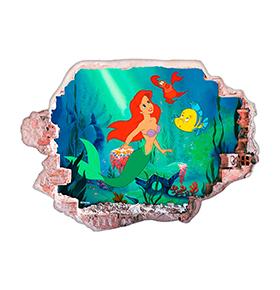 Vinil de Parede 3D Disney | Ariel e Amigos