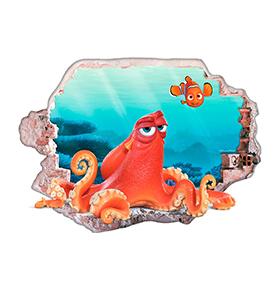 Vinil de Parede 3D Disney | Nemo e Hank