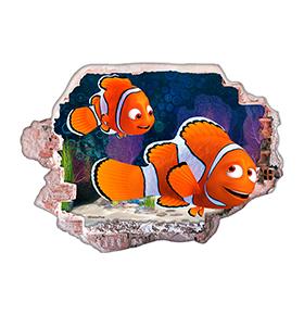 Vinil de Parede 3D Disney | Nemo e  Marlin