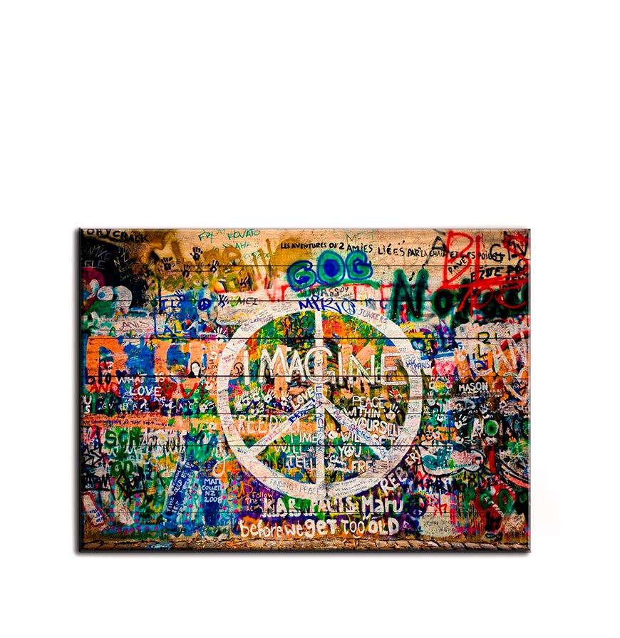 Quadro de Madeira Símbolo da Paz   70 X 50