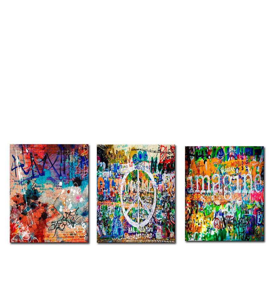 Quadro Tríptico de Lona Símbolo da Paz | 105 X 45
