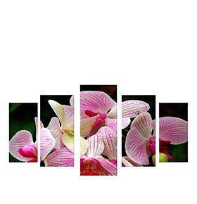Quadro Políptico de Lona Flores Lilás | 100 X 60