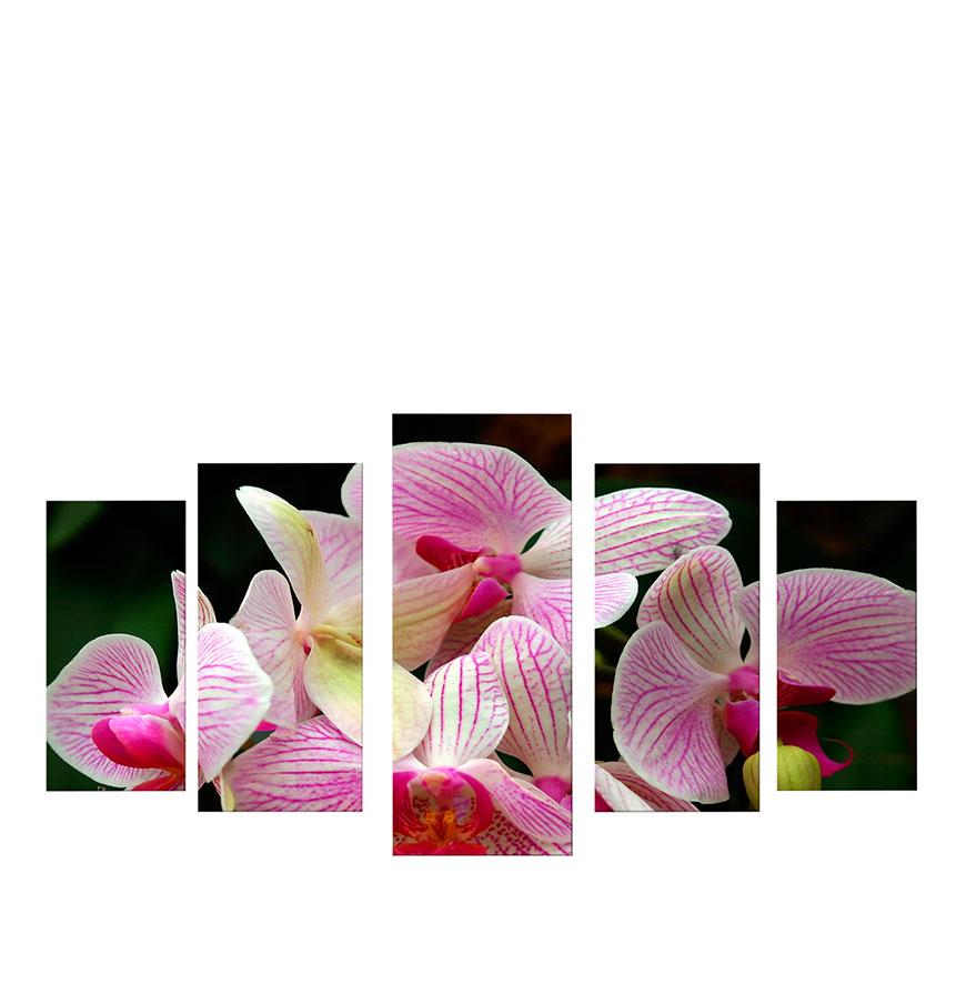 Quadro Políptico de Lona Flores Lilás   100 X 60