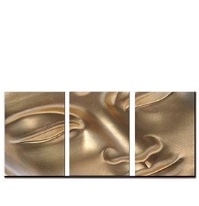 Quadro Tríptico de Lona Buda | 105 X 45