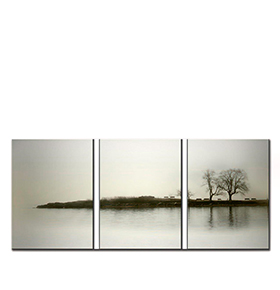 Quadro Tríptico de Lona Neblina | 105 X 45