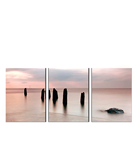 Quadro Tríptico de Lona Rochedo | 105 X 45