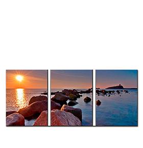 Quadro Tríptico de Lona Pôr do Sol | 105 X 45