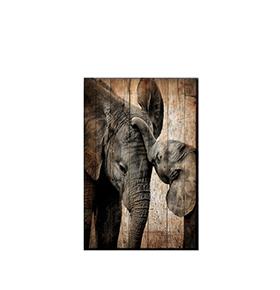 Quadro de Madeira Elefantes | 70 X 50