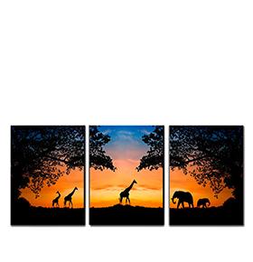 Quadro Tríptico de Lona Animais Amanhecer | 105 X 45