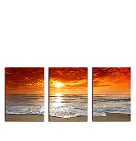 Quadro Tríptico de Lona Praia | 105 X 45