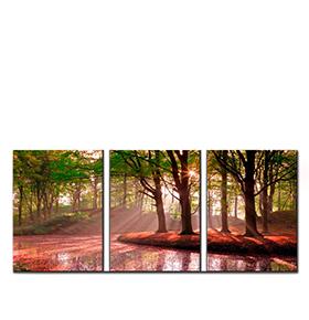 Quadro Tríptico de Lona Floresta | 105 X 45