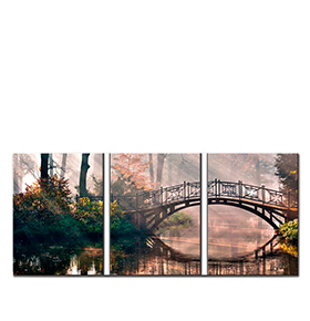 Quadro Tríptico de Lona Ponte | 105 X 45