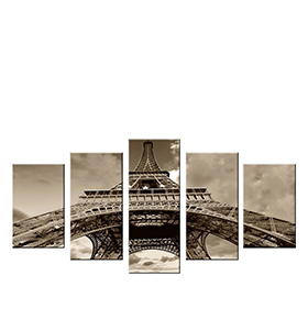 Quadro Políptico de Lona Torre Eiffel   100 X 60