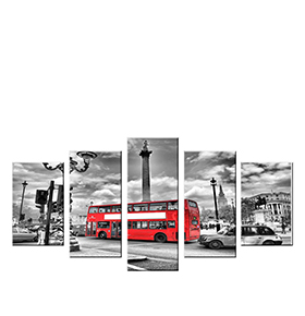 Quadro Políptico de Lona Bus London | 100 X 60