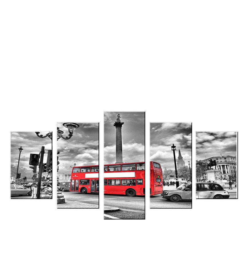 Quadro Políptico de Lona Bus London   100 X 60