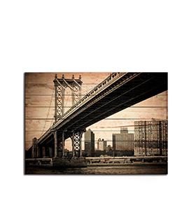 Quadro de Madeira Ponte de Manhattan | 70 X 50
