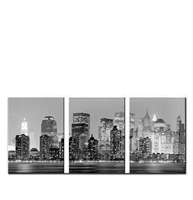 Quadro Tríptico de Lona New York City   105 X 45