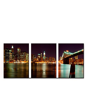 Quadro Tríptico de Lona Ponte do Brooklyn | 105 X 45