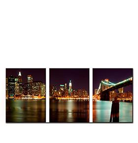 Quadro Tríptico de Lona Ponte do Brooklyn   105 X 45