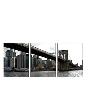 Quadro Tríptico de Lona Manhattan II | 105 X 45