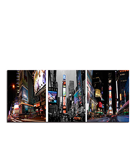 Quadro Tríptico de Lona New York City III   105 X 45