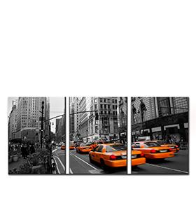 Quadro Tríptico de Lona Taxis | 105 X 45