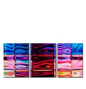 Quadro Tríptico de Lona Figuras Coloridas | 105 X 45