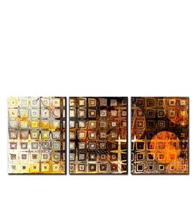 Quadro Tríptico de Lona Figuras Neutras | 105 X 45
