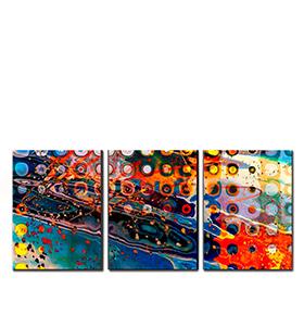 Quadro Tríptico de Lona Salpicos Coloridos | 105 X 45
