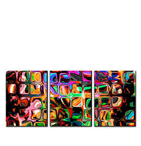 Quadro Tríptico de Lona Figuras Coloridas II | 105 X 45
