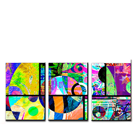 Quadro Tríptico de Lona Figuras Coloridas III | 105 X 45