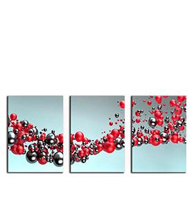 Quadro Tríptico de Lona Bolas | 105 X 45