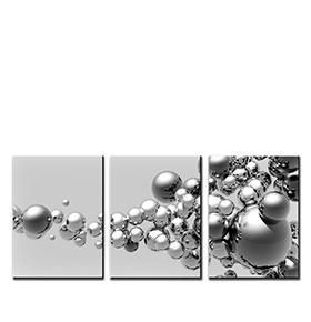 Quadro Tríptico de Lona Bolas Cinza | 105 X 45