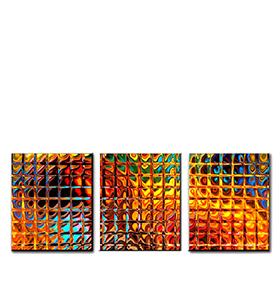 Quadro Tríptico de Lona Cubos Coloridos | 105 X 45