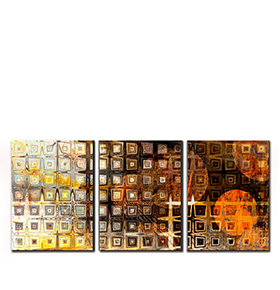 Quadro Tríptico de Lona Figuras Coloridas IV | 105 X 45