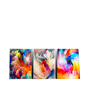 Quadro Tríptico de Lona Multicolor | 105 X 45