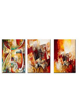 Quadro Tríptico de Lona Tons de Vermelho | 105 X 45