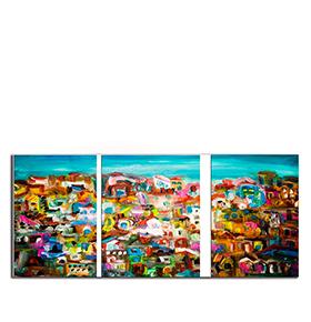 Quadro Tríptico de Lona Mar e Casas | 105 X 45
